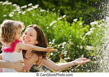 primavera, mulher, parque, tocando, criança