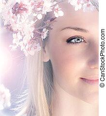 primavera, mulher, sensual, retrato