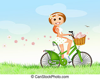 primavera, niña, bicicleta