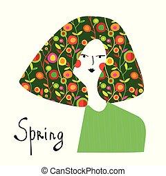 primavera, niña, con, floral, moda de pelo, banner.