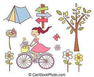 primavera, objeto, cobrança, doodle