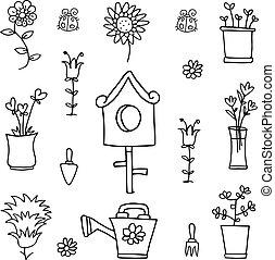 primavera, objeto, jardim, doodle