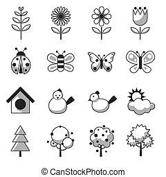 primavera, objeto, jogo, estação, ícones
