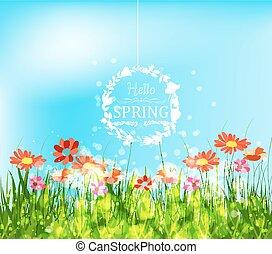 primavera, olá, fundo