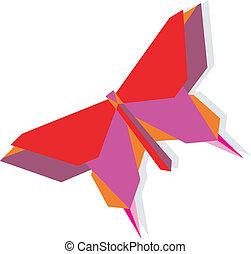 primavera, origami, farfalla