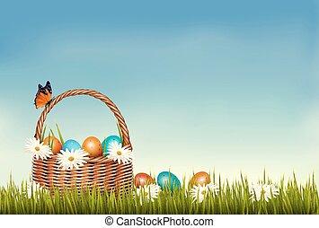 primavera, ovos, experiência., flowers., vector., cesta, capim, páscoa