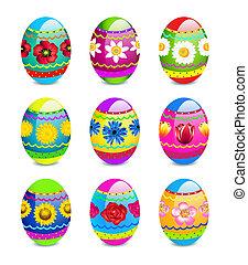 primavera, ovos, flores, páscoa, padrão