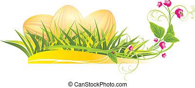 primavera, ovos, flores, páscoa