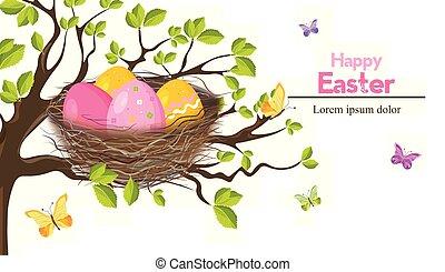 primavera, ovos, temas, vector., feriado, páscoa, ninho, cartão