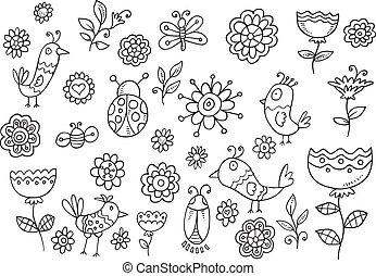 primavera, pájaro, flor, garabato, conjunto