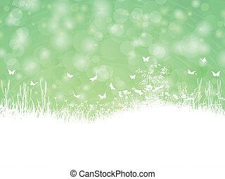 primavera, paesaggio, con, farfalle