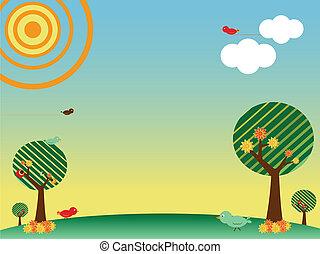 primavera, paesaggio, retro, albero, uccelli