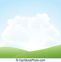 primavera, paisagem, com, céu, e, nuvem