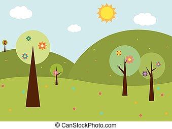 primavera, paisagem, com, flores