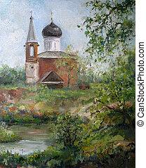 primavera, paisagem, com, igreja, pintura óleo