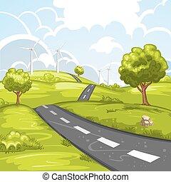 primavera, paisagem, estrada
