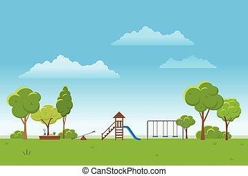 primavera, paisagem, experiência., parque público, vetorial,...