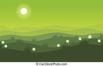 primavera, paisaje, colina verde, plano de fondo