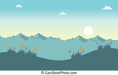 primavera, paisaje, en, el, salida del sol