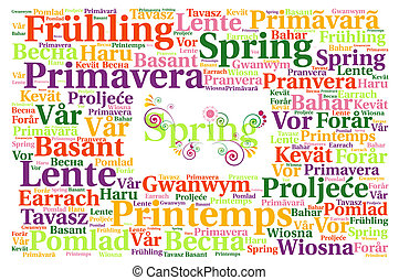 primavera, palabra, nube, concepto