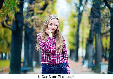 primavera, parco, giovane, carino, cadere, ragazza, o
