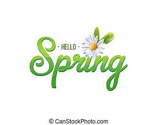 primavera, parola, con, camomilla