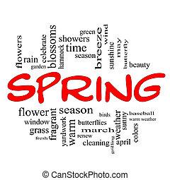 primavera, parola, nuvola, concetto, in, rosso, cappucci
