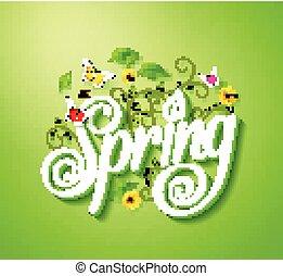primavera, parola, tipografia, concetto