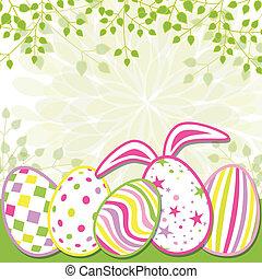 primavera, pascua, feriado, tarjeta de felicitación