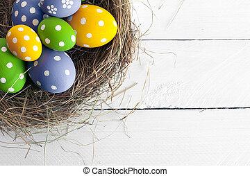 primavera, pascua, nido, con, huevos