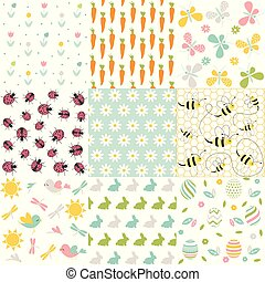 primavera, patterns., seamless, vettore, backgrounds., pasqua