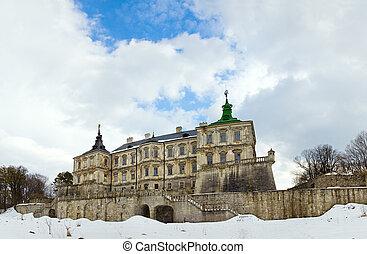 primavera, pidhirtsi, castelo, panorama, vista, (ukraine)