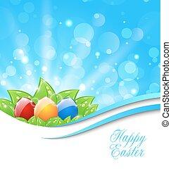 primavera, plano de fondo, con, pascua, colorido, huevos