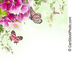 primavera, plano de fondo, floral, mariposa, ramo, primavera
