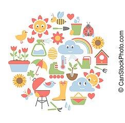 primavera, plano, iconos, en, círculo, aislado, blanco
