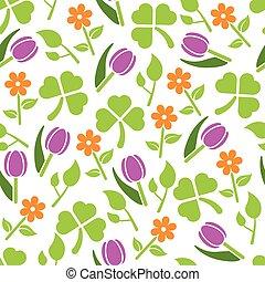 primavera, plantas, seamless, patrón