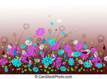 primavera, pradera, con, flores, y, cielo
