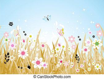 primavera, pradera, hermoso