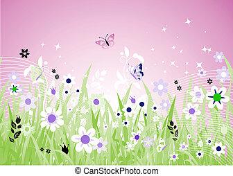 primavera, prado, bonito