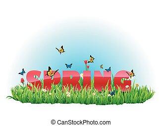 primavera, prado verde, para, seu