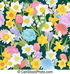 primavera, projeto floral, ligado, a, escuro, experiência., coloridos, seamless, t