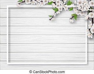 primavera, quadro, branches., cereja, florescer