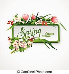 primavera, quadro, com, flowers., vetorial