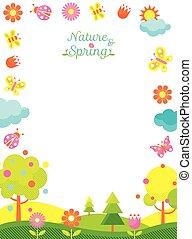 primavera, quadro, estação, ícones