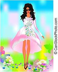 primavera, ragazza, vestire