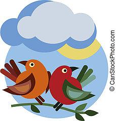 primavera, ramo, com, dois pássaros