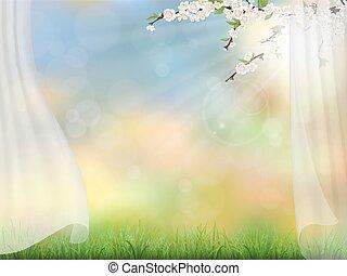 primavera, ramos, fundo, cortina
