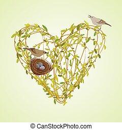 primavera, ramoscelli, cuore, forma.