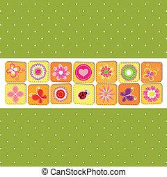 primavera, resumen, flor, tarjeta de felicitación