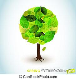 primavera, resumen, vector, árbol, ilustración